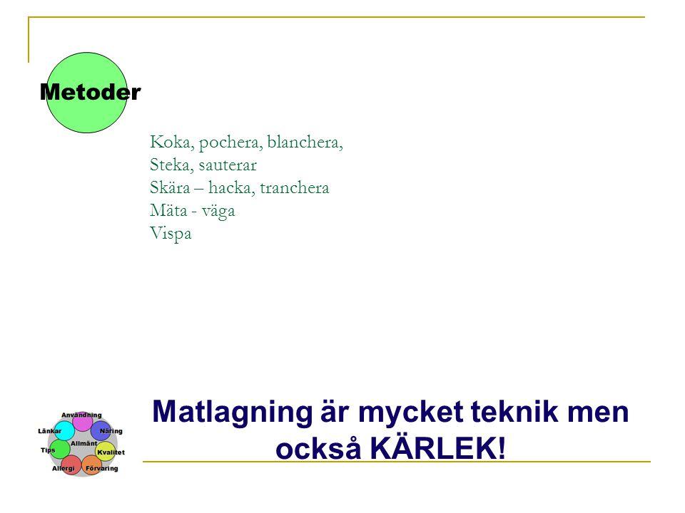 Koka, pochera, blanchera, Steka, sauterar Skära – hacka, tranchera Mäta - väga Vispa Metoder Matlagning är mycket teknik men också KÄRLEK!