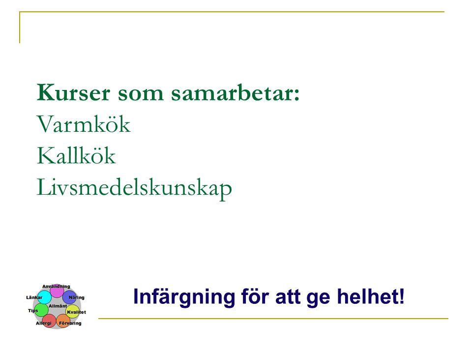 Kurser som samarbetar: Varmkök Kallkök Livsmedelskunskap Infärgning för att ge helhet!