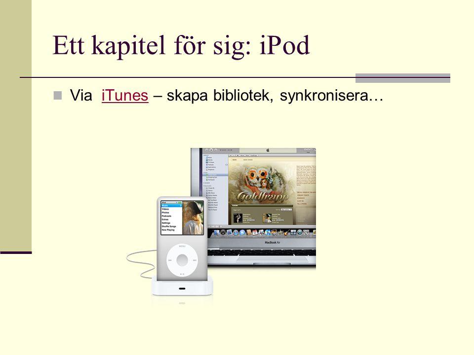 Ett kapitel för sig: iPod  Via iTunes – skapa bibliotek, synkronisera…iTunes