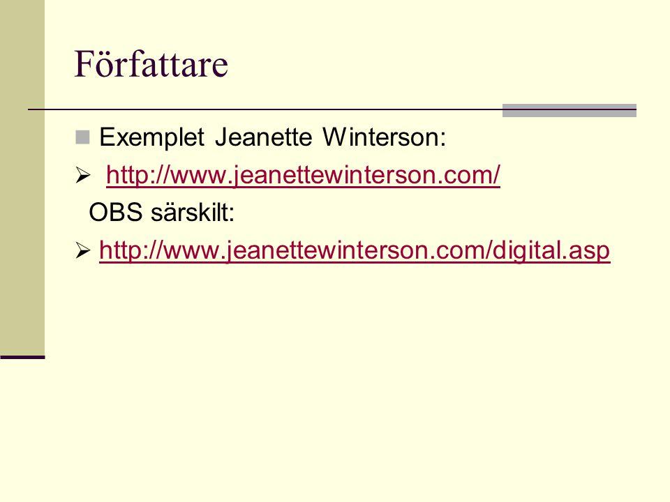 Författare  Exemplet Jeanette Winterson:  http://www.jeanettewinterson.com/http://www.jeanettewinterson.com/ OBS särskilt:  http://www.jeanettewinterson.com/digital.asp http://www.jeanettewinterson.com/digital.asp
