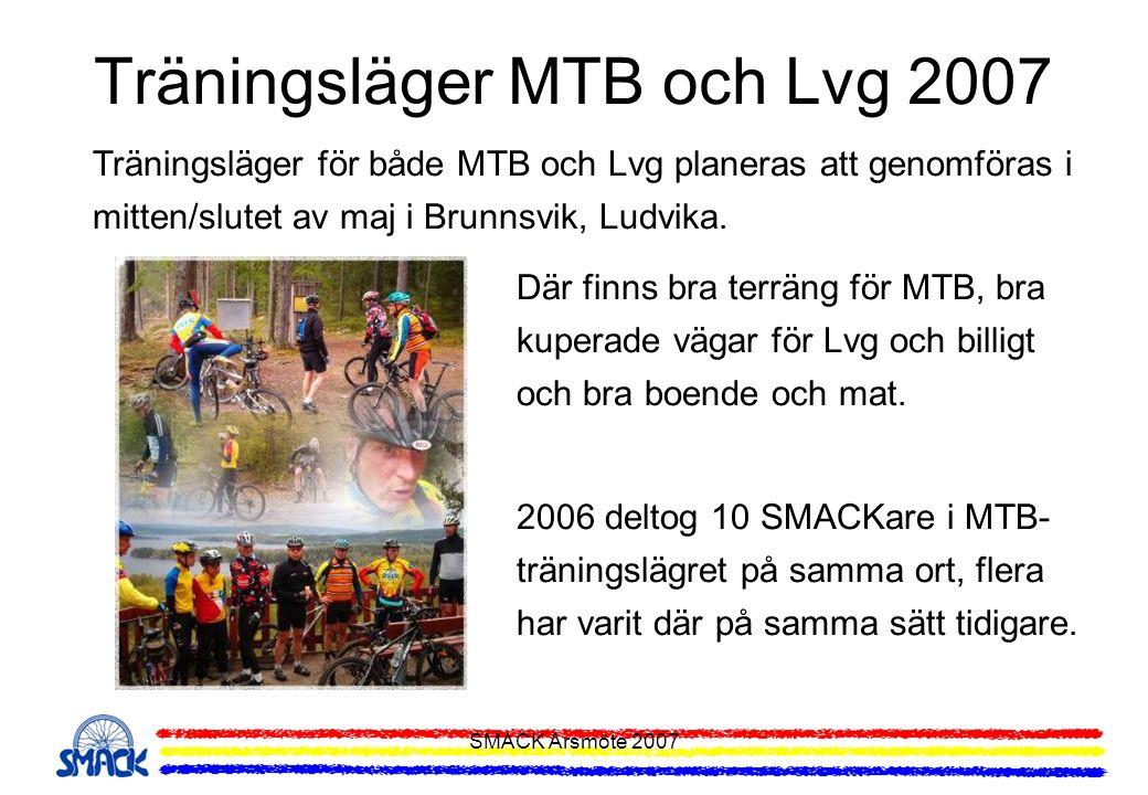 SMACK Årsmöte 2007 Träningsläger MTB och Lvg 2007 Träningsläger för både MTB och Lvg planeras att genomföras i mitten/slutet av maj i Brunnsvik, Ludvi