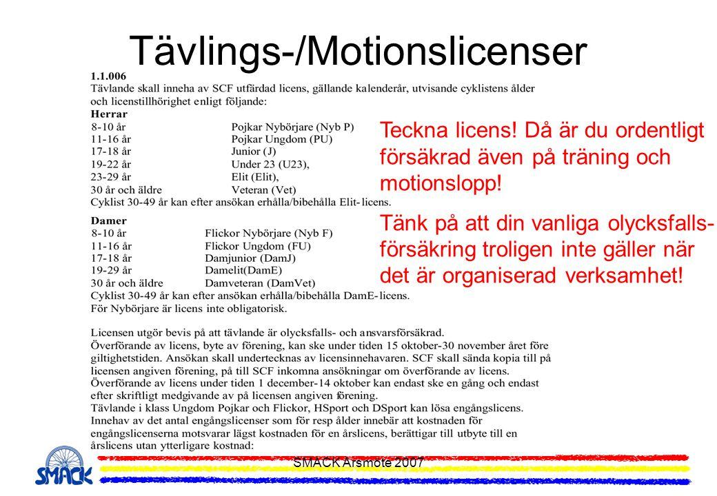 SMACK Årsmöte 2007 Tävlings-/Motionslicenser Teckna licens! Då är du ordentligt försäkrad även på träning och motionslopp! Tänk på att din vanliga oly