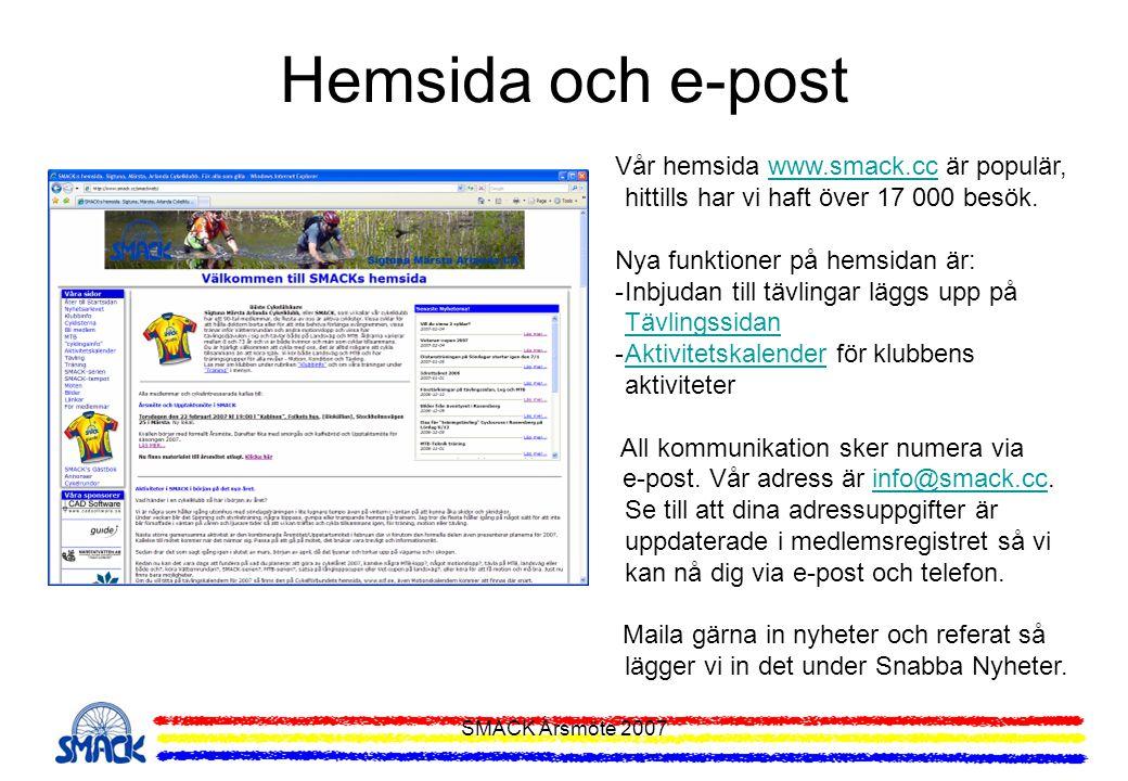 SMACK Årsmöte 2007 Hemsida och e-post Vår hemsida www.smack.cc är populär, hittills har vi haft över 17 000 besök.www.smack.cc Nya funktioner på hemsi