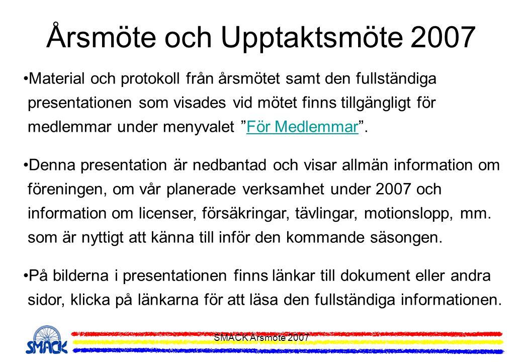 SMACK Årsmöte 2007 Årsmöte och Upptaktsmöte 2007 •Material och protokoll från årsmötet samt den fullständiga presentationen som visades vid mötet finn