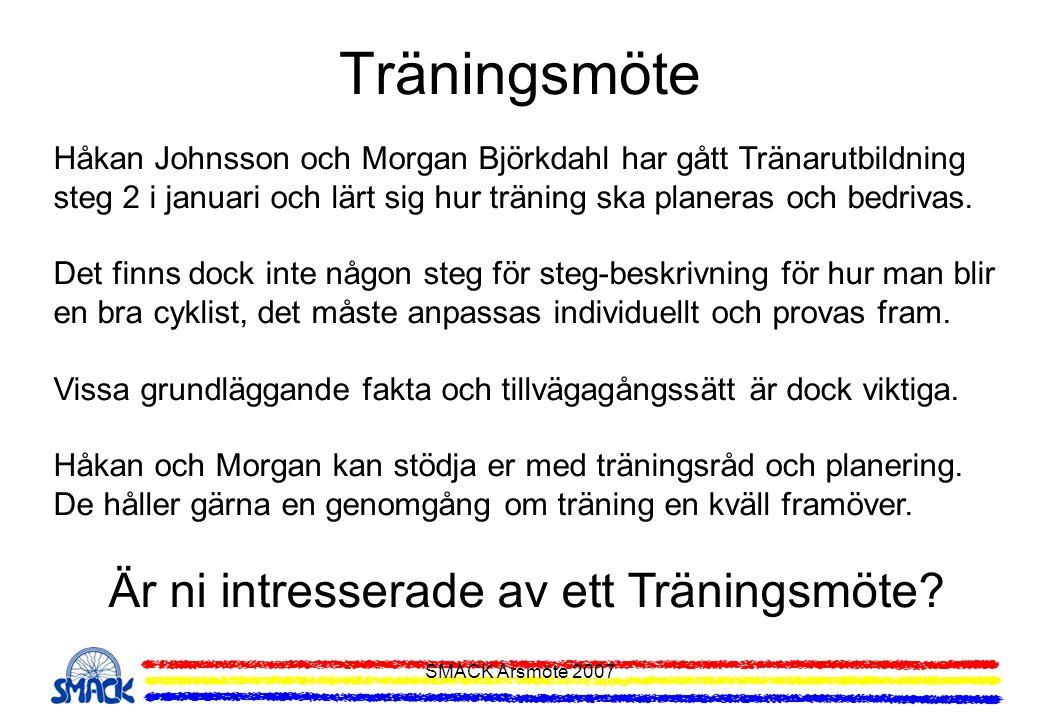 SMACK Årsmöte 2007 Träningsmöte Håkan Johnsson och Morgan Björkdahl har gått Tränarutbildning steg 2 i januari och lärt sig hur träning ska planeras o