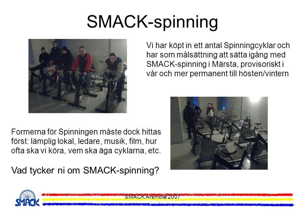 SMACK Årsmöte 2007 Tränings- och Motionsupplägg 2007 MåndagLvg-träning Fartlek och Fartdistans TisdagMTB-träning Nybörjare samt Barn och Ungdom OnsdagSMACK-serien, Lvg TorsdagMTB-träning Fartlek Fredag--- LördagMTB-träning Distans SöndagLvg-träning Distans Vid årsmötet beslutades om ovanstående träningar och dagar Läs detaljer om träningarna här: Träningar 2007Träningar 2007