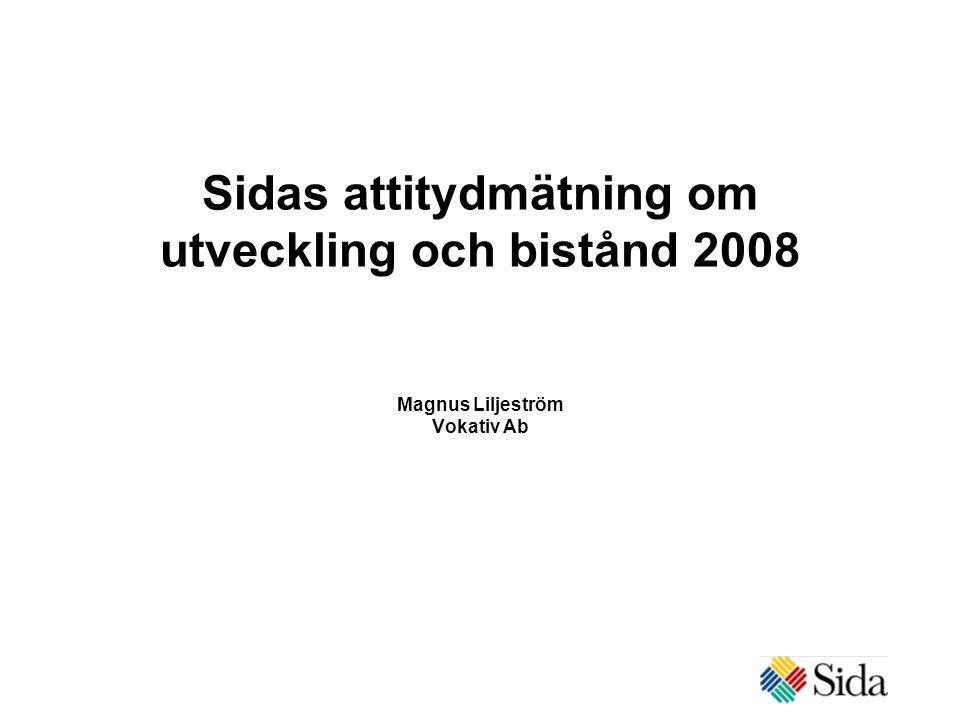 Sidas attitydmätning om utveckling och bistånd 2008 Magnus Liljeström Vokativ Ab