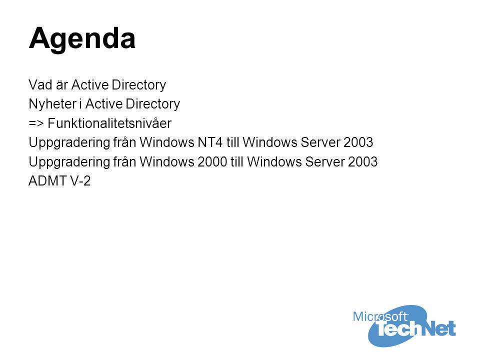 Agenda Vad är Active Directory Nyheter i Active Directory => Funktionalitetsnivåer Uppgradering från Windows NT4 till Windows Server 2003 Uppgradering från Windows 2000 till Windows Server 2003 ADMT V-2