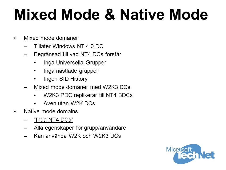 Mixed Mode & Native Mode •Mixed mode domäner –Tillåter Windows NT 4.0 DC –Begränsad till vad NT4 DCs förstår •Inga Universella Grupper •Inga nästlade grupper •Ingen SID History –Mixed mode domäner med W2K3 DCs •W2K3 PDC replikerar till NT4 BDCs •Även utan W2K DCs •Native mode domains – Inga NT4 DCs –Alla egenskaper för grupp/användare –Kan använda W2K och W2K3 DCs