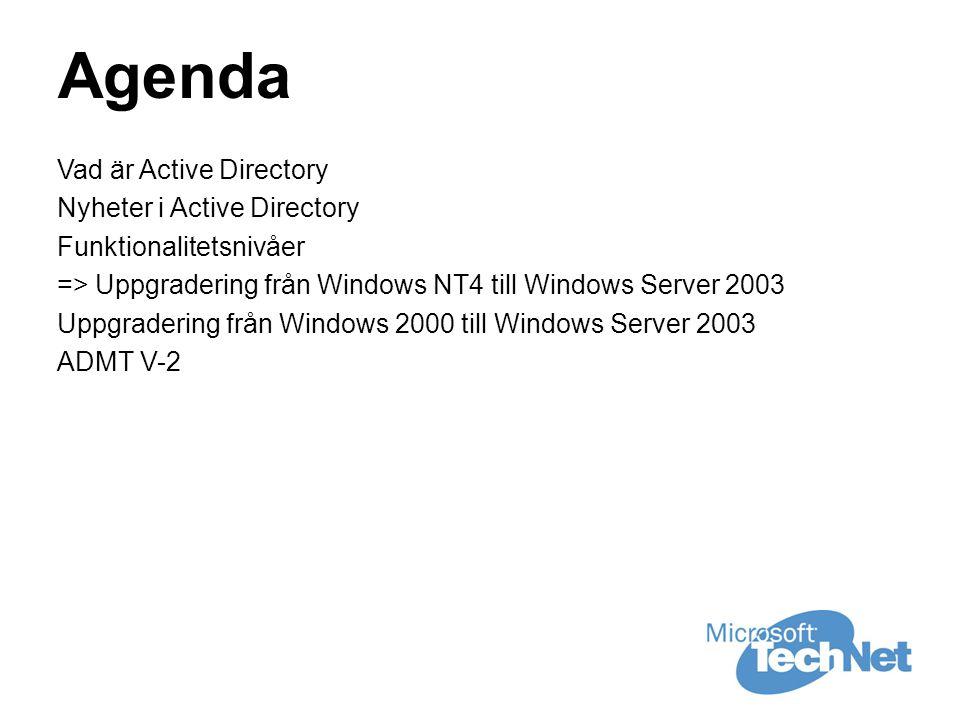 Agenda Vad är Active Directory Nyheter i Active Directory Funktionalitetsnivåer => Uppgradering från Windows NT4 till Windows Server 2003 Uppgradering från Windows 2000 till Windows Server 2003 ADMT V-2