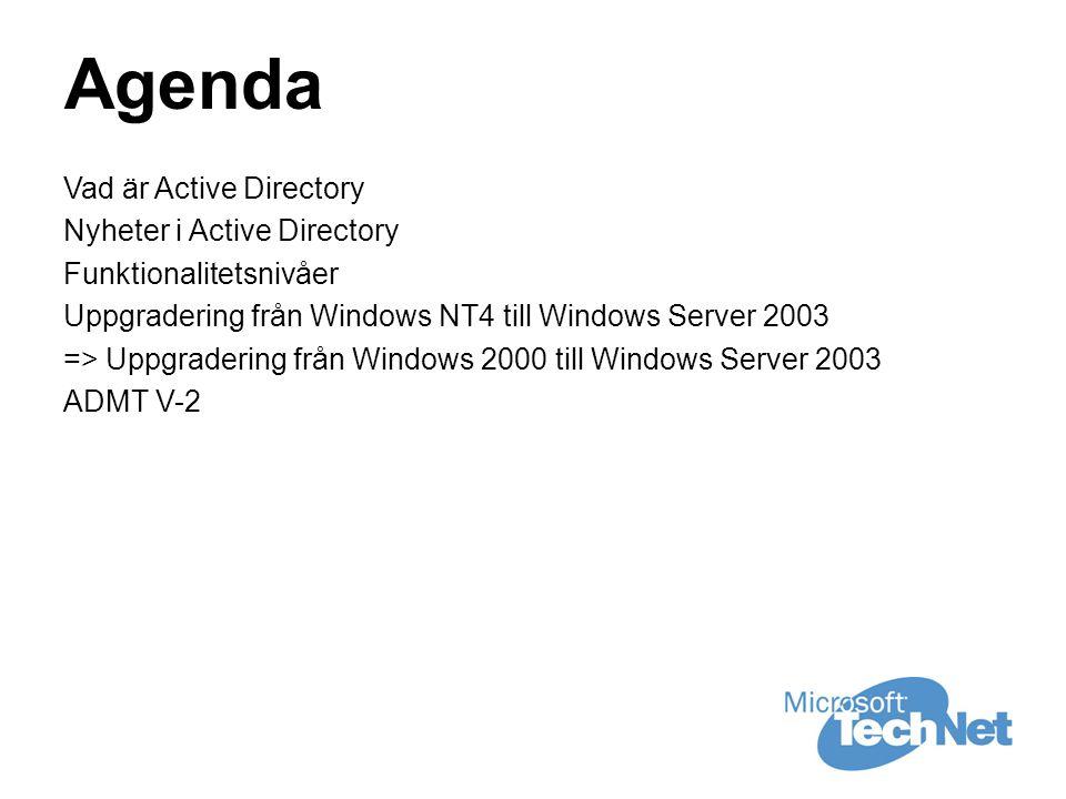 Agenda Vad är Active Directory Nyheter i Active Directory Funktionalitetsnivåer Uppgradering från Windows NT4 till Windows Server 2003 => Uppgradering från Windows 2000 till Windows Server 2003 ADMT V-2