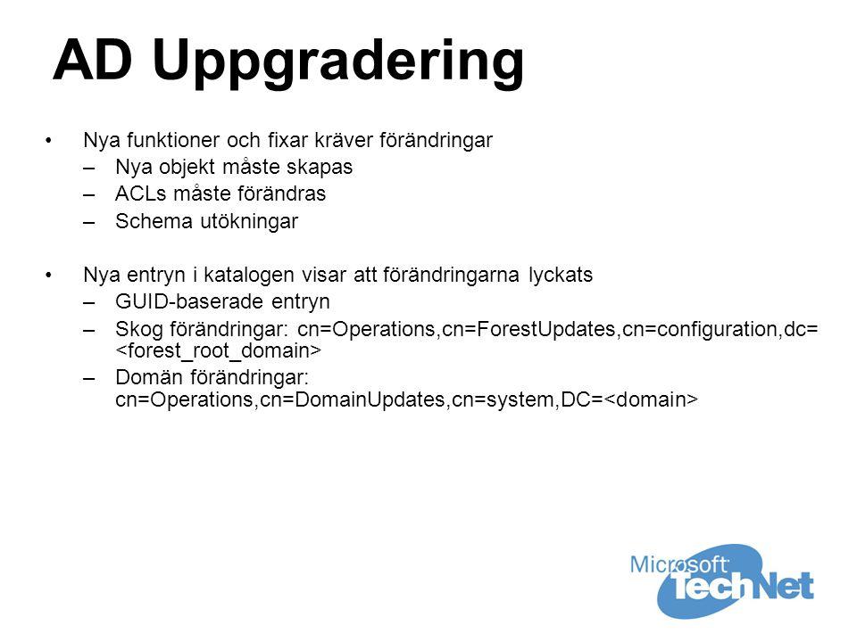 AD Uppgradering •Nya funktioner och fixar kräver förändringar –Nya objekt måste skapas –ACLs måste förändras –Schema utökningar •Nya entryn i katalogen visar att förändringarna lyckats –GUID-baserade entryn –Skog förändringar: cn=Operations,cn=ForestUpdates,cn=configuration,dc= –Domän förändringar: cn=Operations,cn=DomainUpdates,cn=system,DC=