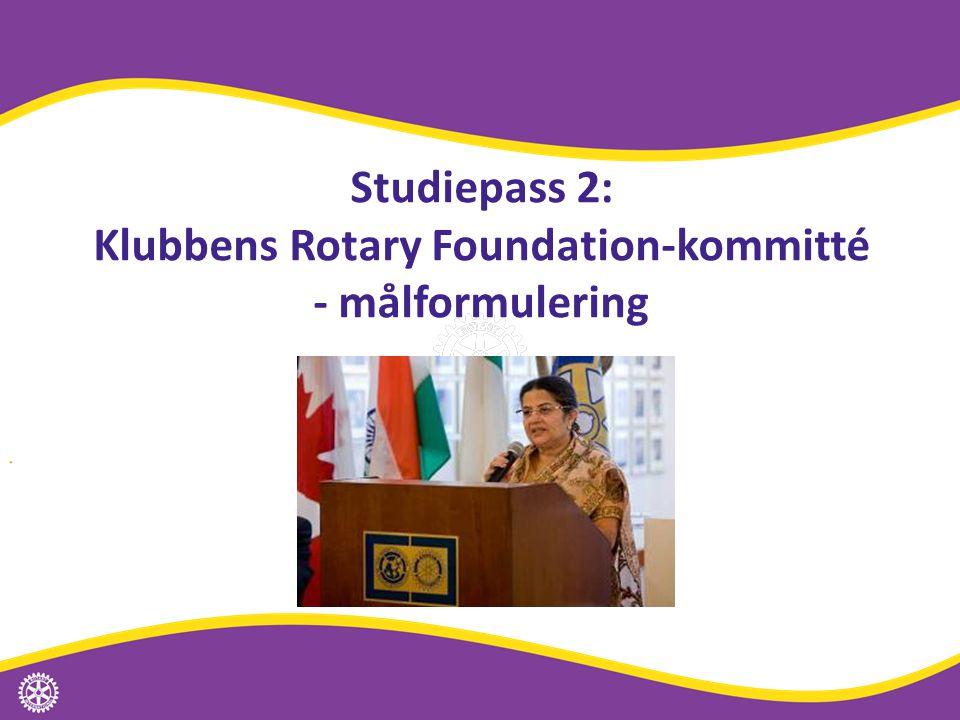 Studiepass 2: Klubbens Rotary Foundation-kommitté - målformulering