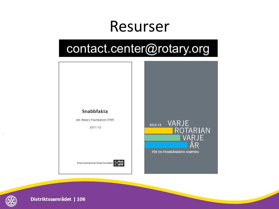 Resurser Distriktssamrådet | 106 contact.center@rotary.org