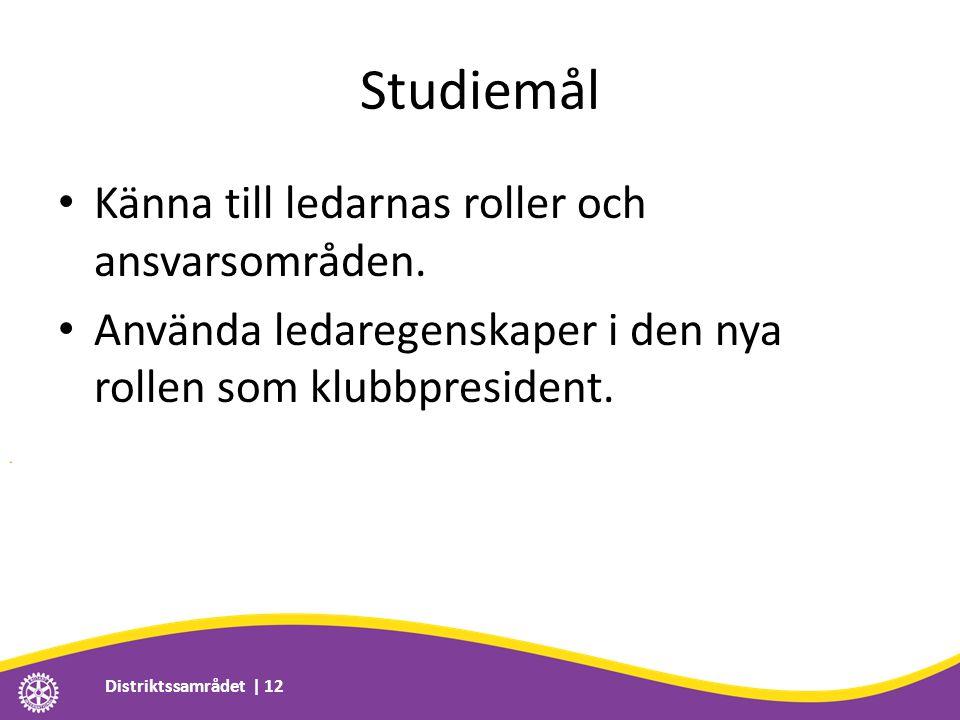 Studiemål • Känna till ledarnas roller och ansvarsområden.