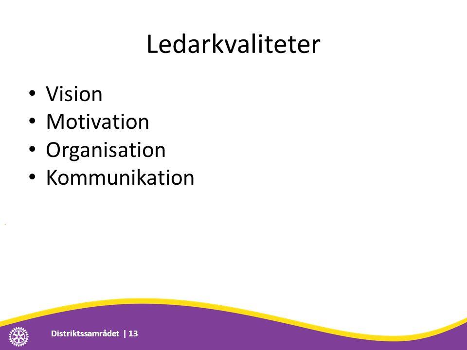 Ledarkvaliteter • Vision • Motivation • Organisation • Kommunikation Distriktssamrådet | 13