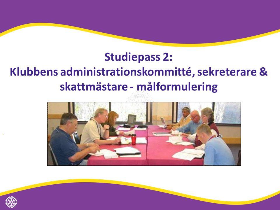 Studiepass 2: Klubbens administrationskommitté, sekreterare & skattmästare - målformulering Distriktssamrådet | 40
