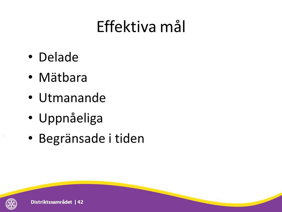 Effektiva mål • Delade • Mätbara • Utmanande • Uppnåeliga • Begränsade i tiden Distriktssamrådet | 42
