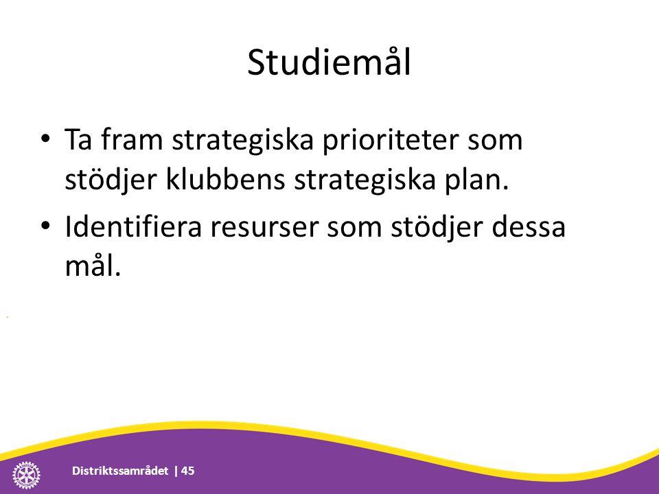 Studiemål • Ta fram strategiska prioriteter som stödjer klubbens strategiska plan. • Identifiera resurser som stödjer dessa mål. Distriktssamrådet | 4