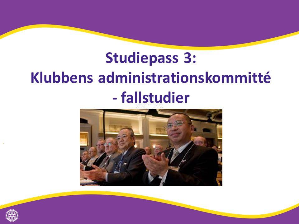 Studiepass 3: Klubbens administrationskommitté - fallstudier