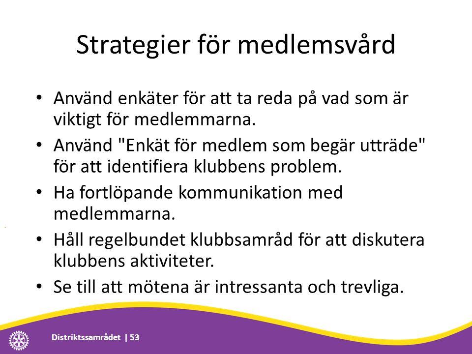 Strategier för medlemsvård • Använd enkäter för att ta reda på vad som är viktigt för medlemmarna. • Använd