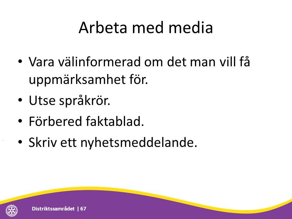 Arbeta med media • Vara välinformerad om det man vill få uppmärksamhet för. • Utse språkrör. • Förbered faktablad. • Skriv ett nyhetsmeddelande. Distr