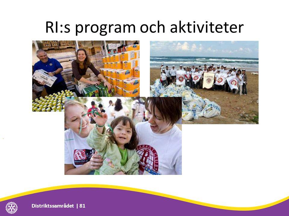 RI:s program och aktiviteter Distriktssamrådet | 81