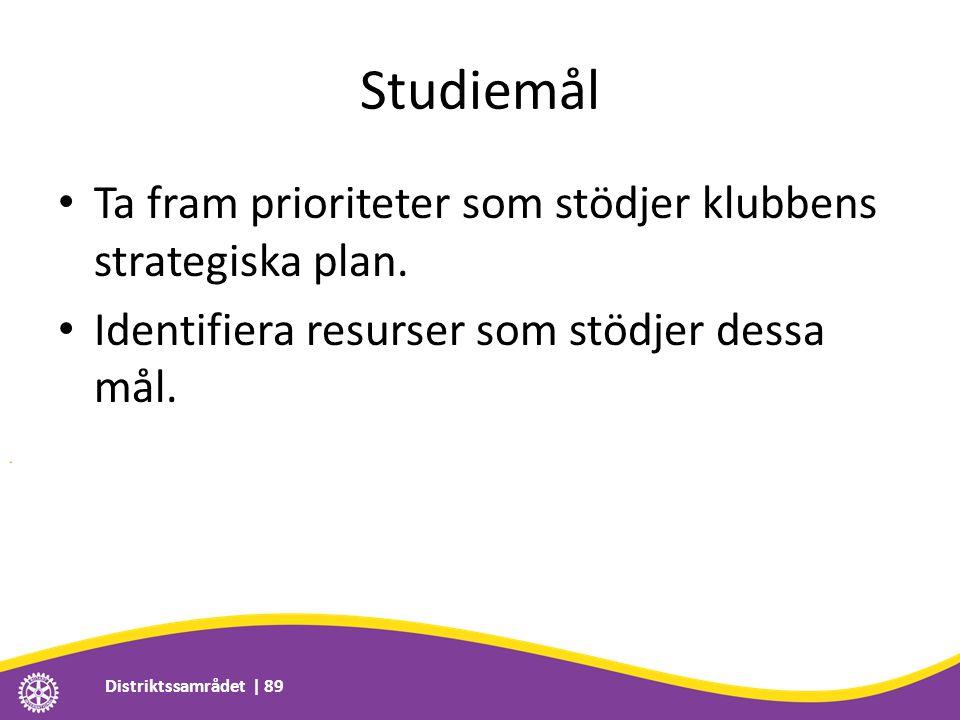 Studiemål • Ta fram prioriteter som stödjer klubbens strategiska plan. • Identifiera resurser som stödjer dessa mål. Distriktssamrådet | 89