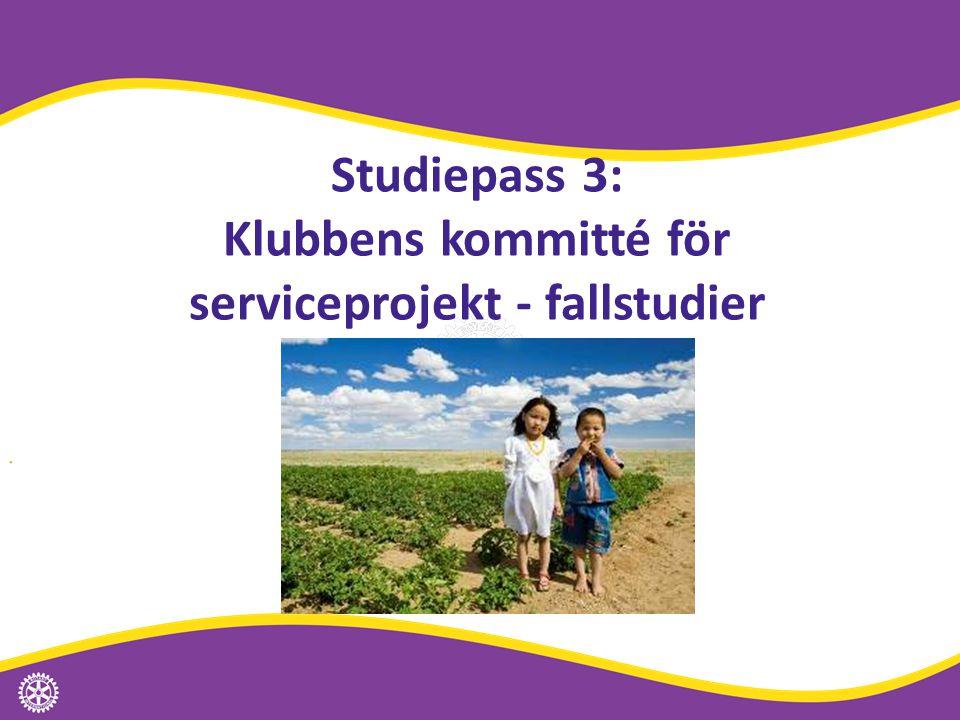 Studiepass 3: Klubbens kommitté för serviceprojekt - fallstudier