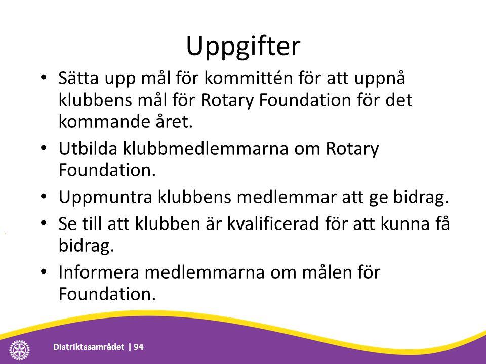 Uppgifter • Sätta upp mål för kommittén för att uppnå klubbens mål för Rotary Foundation för det kommande året. • Utbilda klubbmedlemmarna om Rotary F