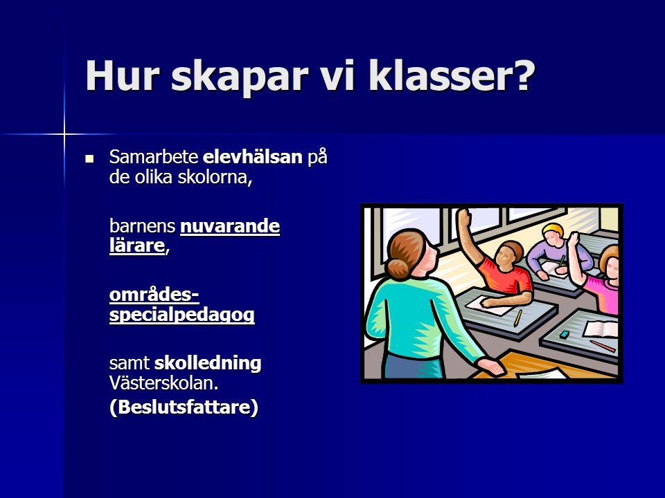 Hur skapar vi klasser?  Samarbete elevhälsan på de olika skolorna, barnens nuvarande lärare, områdes- specialpedagog samt skolledning Västerskolan. (
