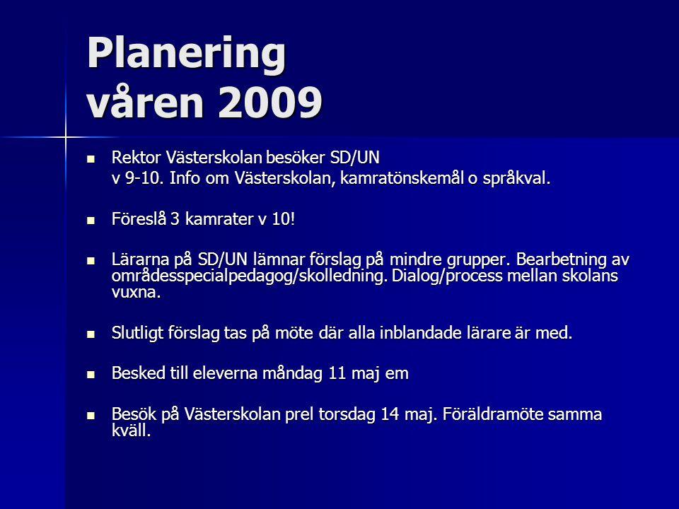 Planering våren 2009  Rektor Västerskolan besöker SD/UN v 9-10. Info om Västerskolan, kamratönskemål o språkval.  Föreslå 3 kamrater v 10!  Lärarna