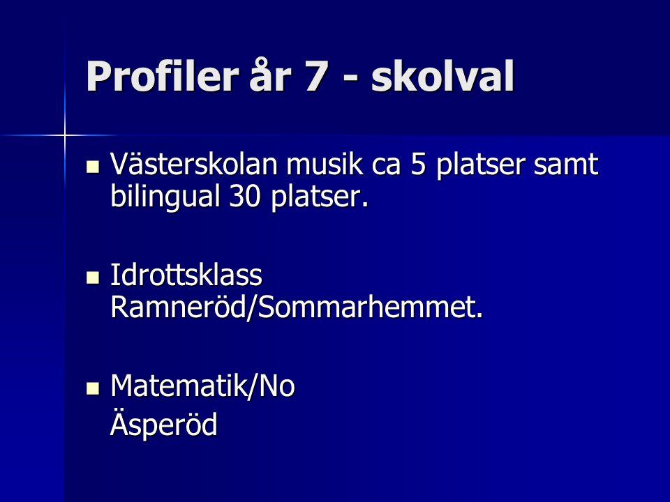 Profiler år 7 - skolval  Västerskolan musik ca 5 platser samt bilingual 30 platser.  Idrottsklass Ramneröd/Sommarhemmet.  Matematik/No Äsperöd