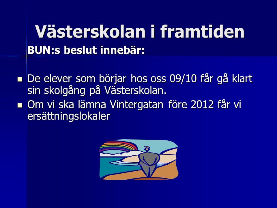 Västerskolan i framtiden BUN:s beslut innebär:  De elever som börjar hos oss 09/10 får gå klart sin skolgång på Västerskolan.  Om vi ska lämna Vinte
