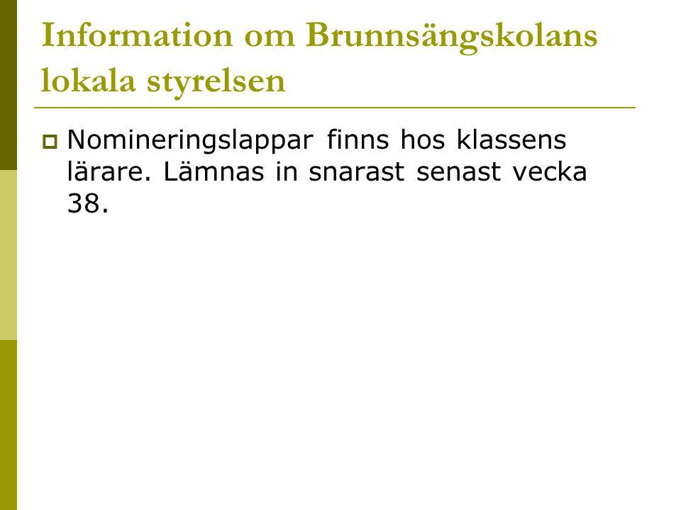 Information om Brunnsängskolans lokala styrelsen  Nomineringslappar finns hos klassens lärare. Lämnas in snarast senast vecka 38.