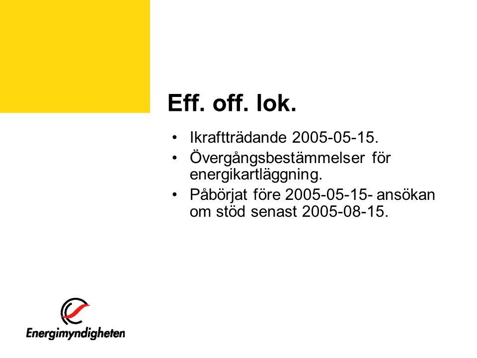 Eff. off. lok. •Ikraftträdande 2005-05-15. •Övergångsbestämmelser för energikartläggning.