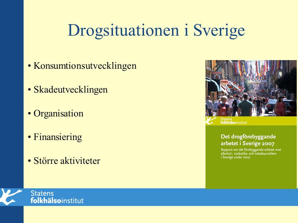 Drogsituationen i Sverige • Konsumtionsutvecklingen • Skadeutvecklingen • Organisation • Finansiering • Större aktiviteter