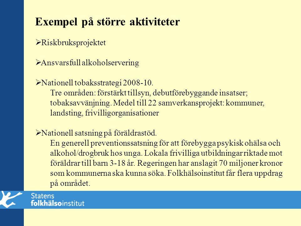 Exempel på större aktiviteter  Riskbruksprojektet  Ansvarsfull alkoholservering  Nationell tobaksstrategi 2008-10. Tre områden: förstärkt tillsyn,