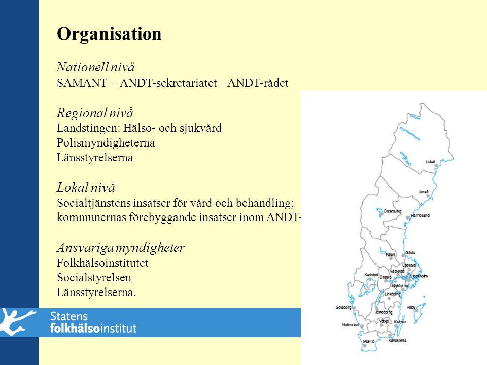 Organisation Nationell nivå SAMANT – ANDT-sekretariatet – ANDT-rådet Regional nivå Landstingen: Hälso- och sjukvård Polismyndigheterna Länsstyrelserna