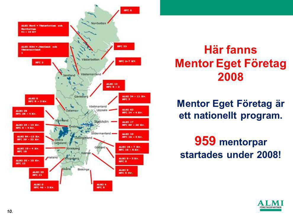 Från idé till lönsamt företag 10. Här fanns Mentor Eget Företag 2008 Mentor Eget Företag är ett nationellt program. 959 mentorpar startades under 2008