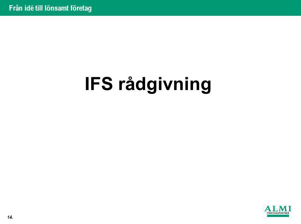 Från idé till lönsamt företag 14. IFS rådgivning