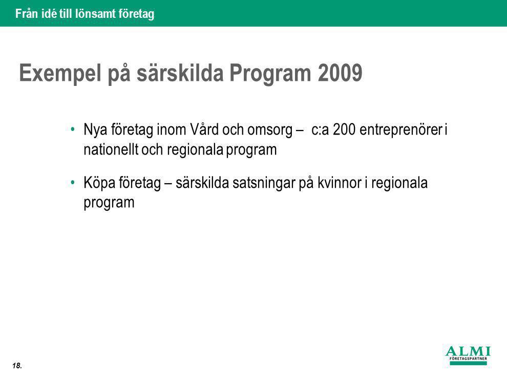 Från idé till lönsamt företag 18. Exempel på särskilda Program 2009 •Nya företag inom Vård och omsorg – c:a 200 entreprenörer i nationellt och regiona