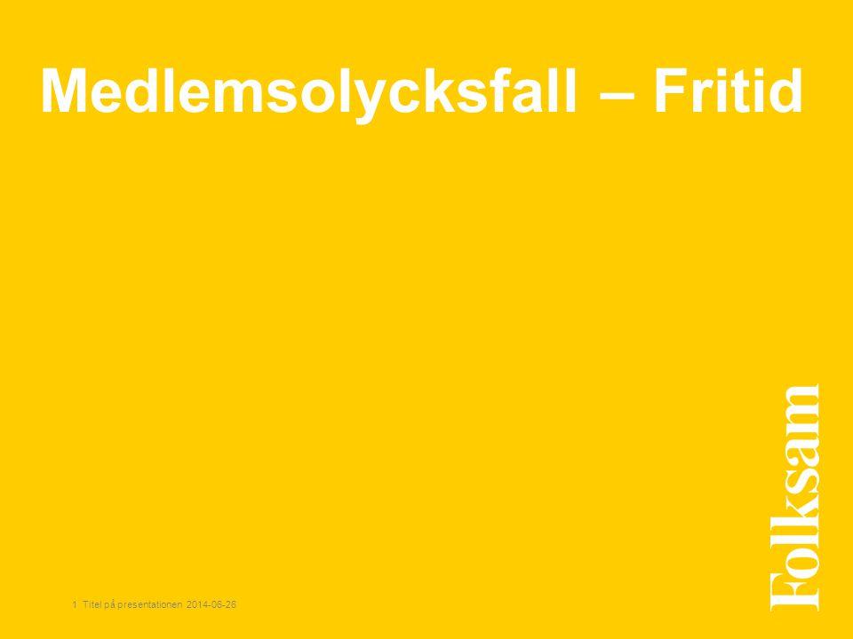 1 Titel på presentationen 2014-06-26 Medlemsolycksfall – Fritid