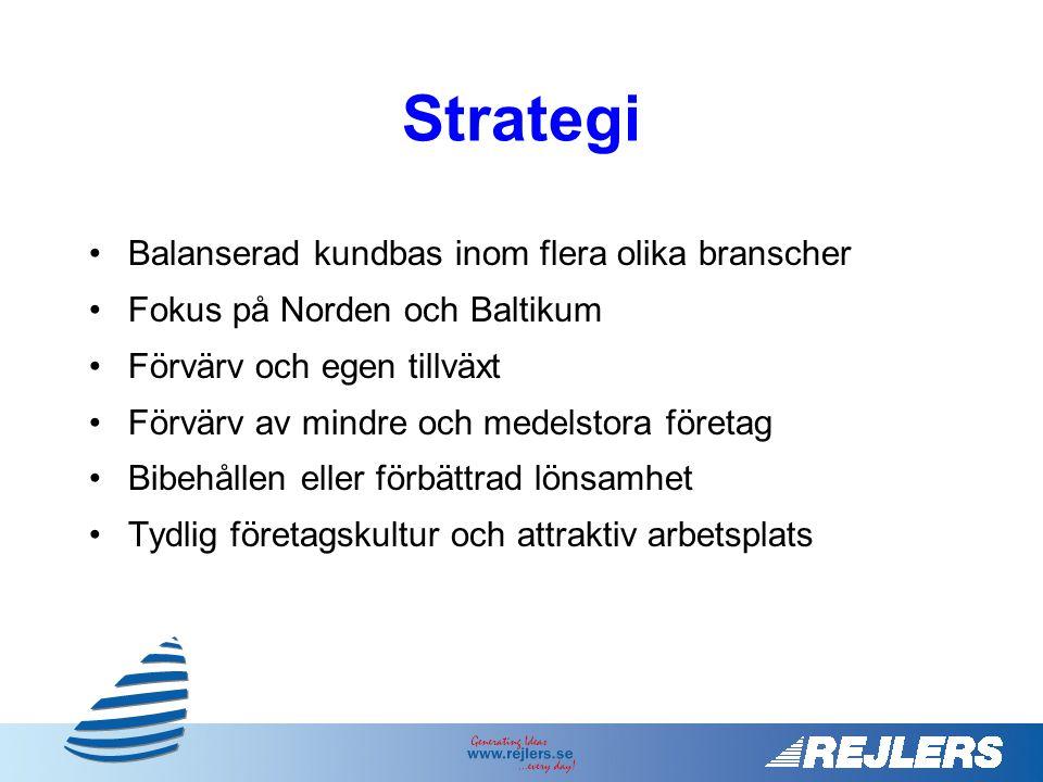 •Balanserad kundbas inom flera olika branscher •Fokus på Norden och Baltikum •Förvärv och egen tillväxt •Förvärv av mindre och medelstora företag •Bibehållen eller förbättrad lönsamhet •Tydlig företagskultur och attraktiv arbetsplats Strategi