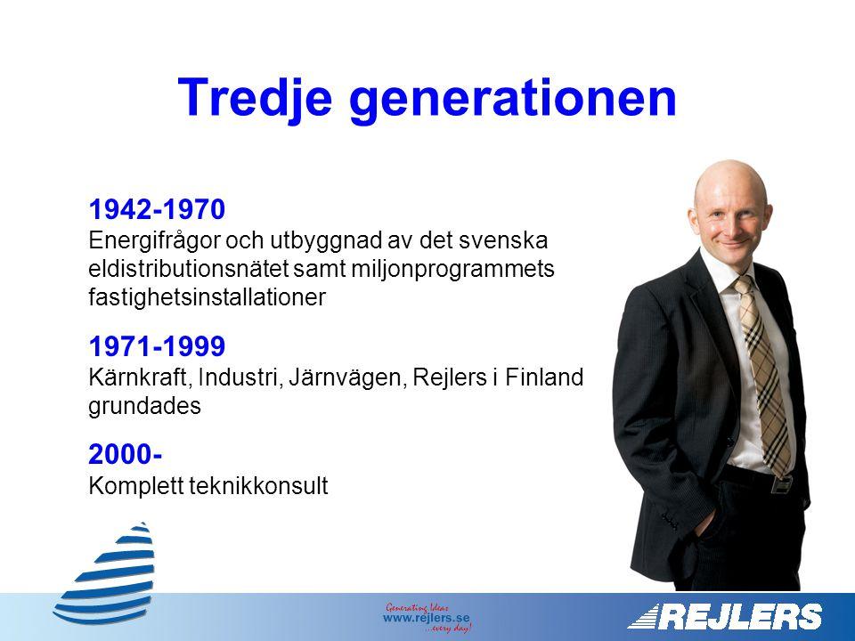 1942-1970 Energifrågor och utbyggnad av det svenska eldistributionsnätet samt miljonprogrammets fastighetsinstallationer 1971-1999 Kärnkraft, Industri, Järnvägen, Rejlers i Finland grundades 2000- Komplett teknikkonsult Peter Rejler VD, koncernchef Tredje generationen