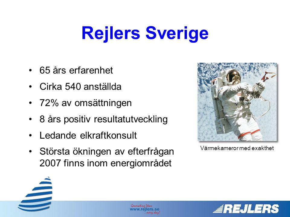 •65 års erfarenhet •Cirka 540 anställda •72% av omsättningen •8 års positiv resultatutveckling •Ledande elkraftkonsult •Största ökningen av efterfrågan 2007 finns inom energiområdet Värmekameror med exakthet Rejlers Sverige