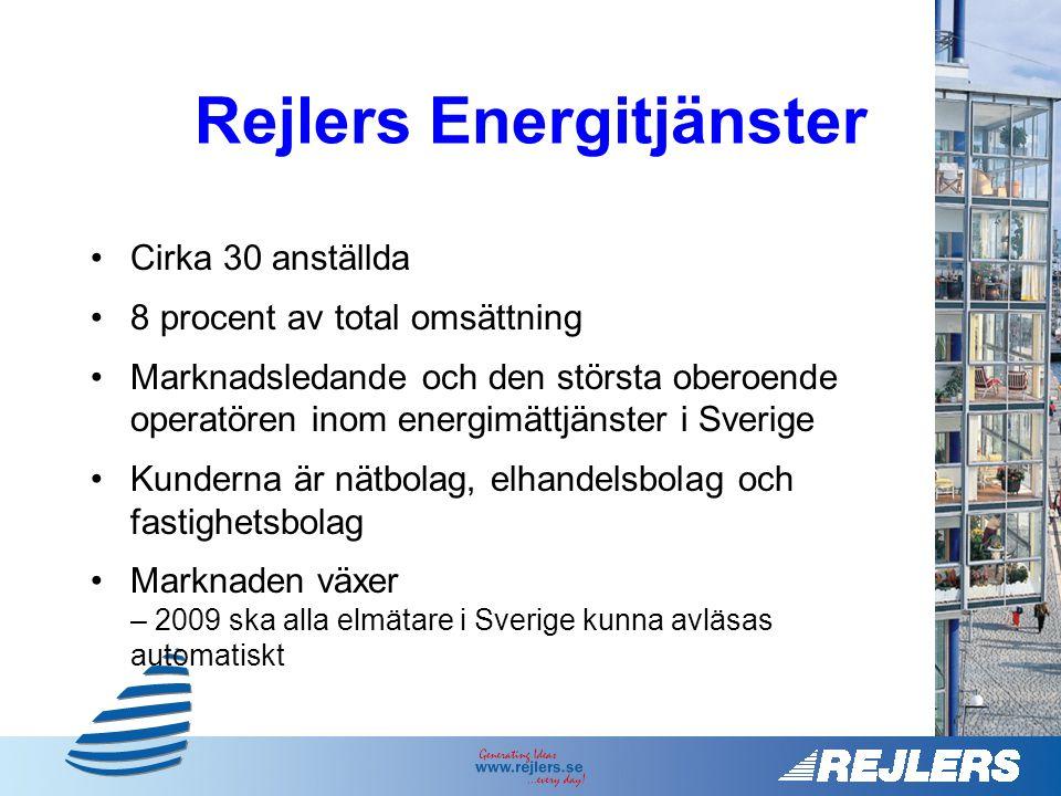 •Cirka 30 anställda •8 procent av total omsättning •Marknadsledande och den största oberoende operatören inom energimättjänster i Sverige •Kunderna är nätbolag, elhandelsbolag och fastighetsbolag •Marknaden växer – 2009 ska alla elmätare i Sverige kunna avläsas automatiskt Rejlers Energitjänster
