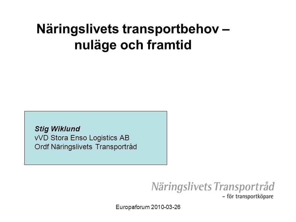 Europaforum 2010-03-26 Näringslivets transportbehov – nuläge och framtid Stig Wiklund vVD Stora Enso Logistics AB Ordf Näringslivets Transportråd