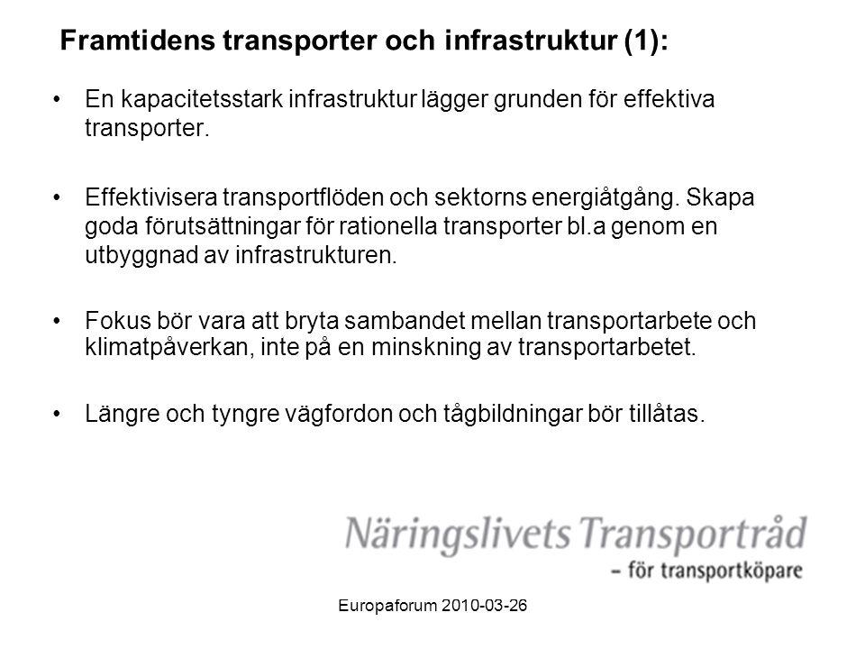 Europaforum 2010-03-26 Framtidens transporter och infrastruktur (1): •En kapacitetsstark infrastruktur lägger grunden för effektiva transporter.
