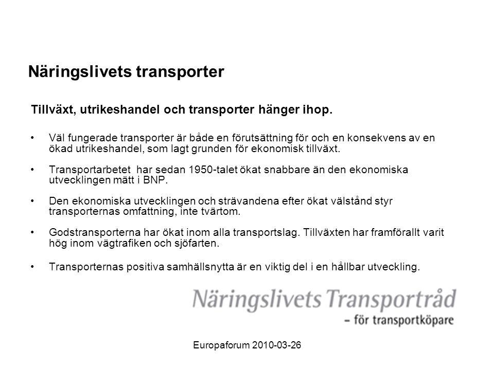 Europaforum 2010-03-26 Regeringen bör ge trafikverken i uppdrag att i genomförandet av åtgärdsplanen 2010-2021: • Tidigarelägga investeringarna i de tre centrala godsstråken Hallsberg- Mjölby, Hamnbanan/Marieholmsbron, Bergslagsbanan/Väster om Vänern.